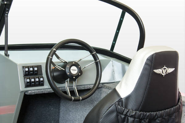 Comfortable driver's console with space for devices